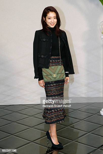 Park ShinHye attends the Chanel Haute Couture Spring Summer 2017 show as part of Paris Fashion Week on January 24 2017 in Paris France