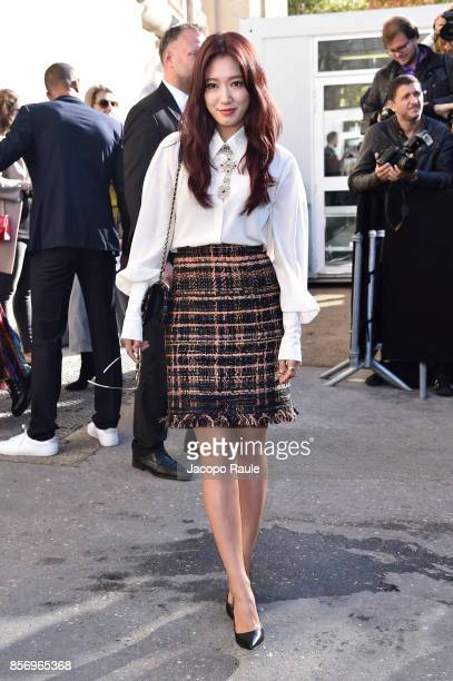 Park Shinhye is seen arriving at Chanel show during Paris Fashion Week Womenswear Spring/Summer 2018on October 3 2017 in Paris France