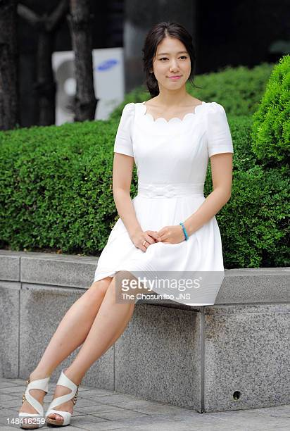 Park ShinHye poses for photographs as she promotes KBS Drama Special 'Don't Worry I'm a Ghost' at Yeouido on July 12 2012 in Seoul South Korea