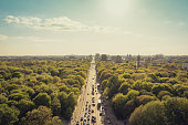 park, street and city skyline -  Berlin, Germany