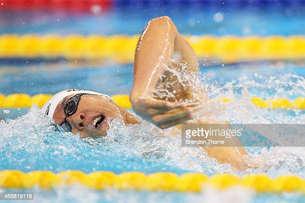 Park Taehwan of South Korea competes in heat three of the Men's 200m Freestyle during day two of the 2014 Asian Games at Munhak Park TaeHwan Aquatics...