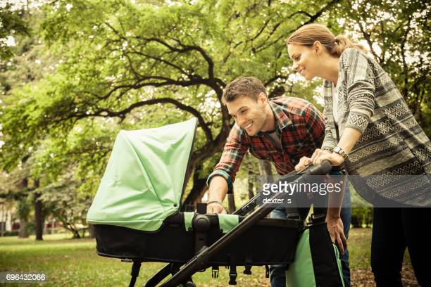 Park walking with baby
