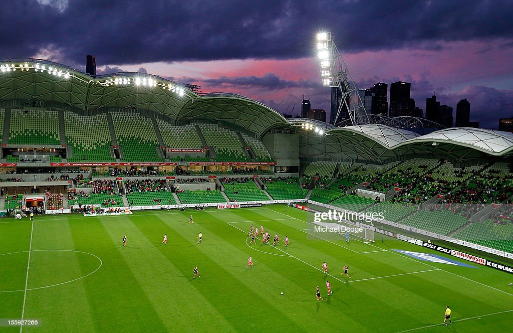 Park with the city skyline during the round six A-League match between the Melbourne Heart and the Brisbane Roar at AAMI Park on November 9, 2012 in Melbourne, Australia.