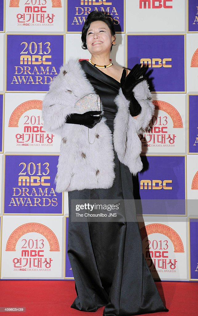 Park Won-Sook arrives at the red carpet of the 2013 MBC drama awards at MBC Open hall on December 30, 2013 in Seoul, South Korea.