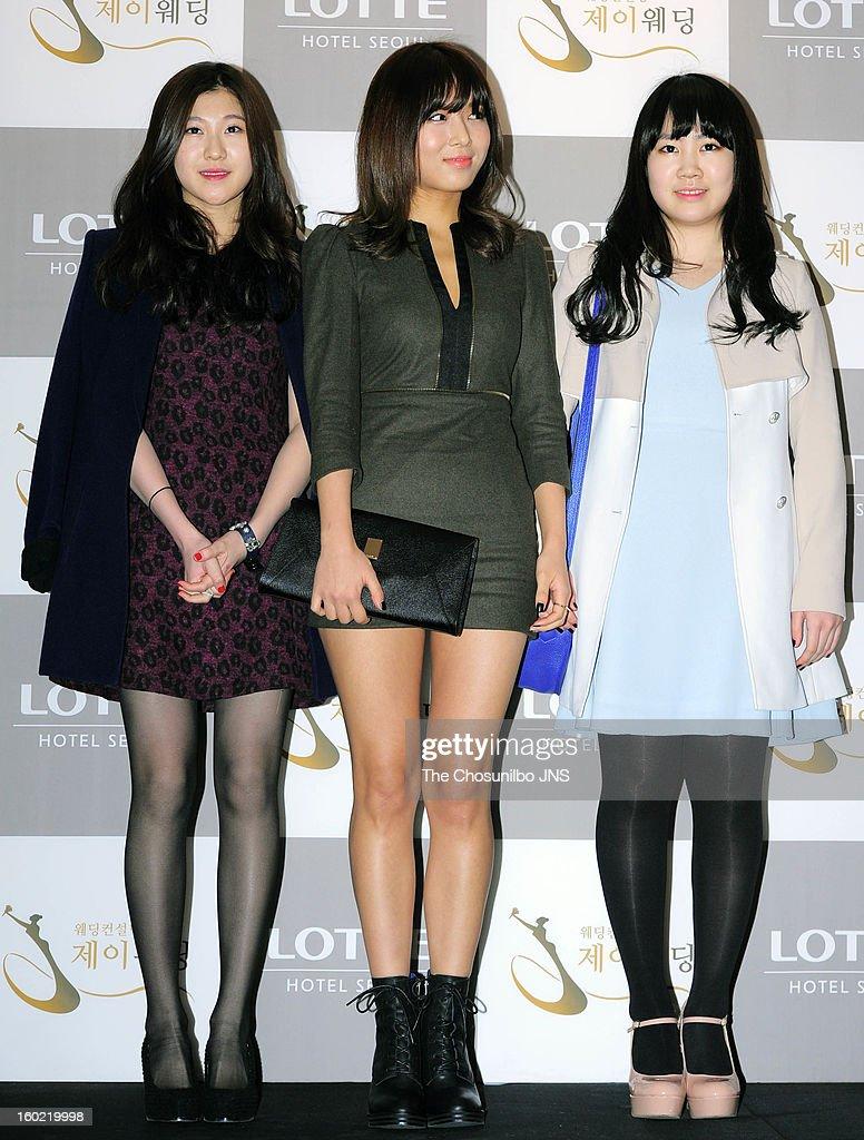 Park Ye-Lyn, Yu-Bin of Wondergirls and Park Ji-Min attend Sun's Wedding at lotte hotel on January 26, 2013 in Seoul, South Korea.