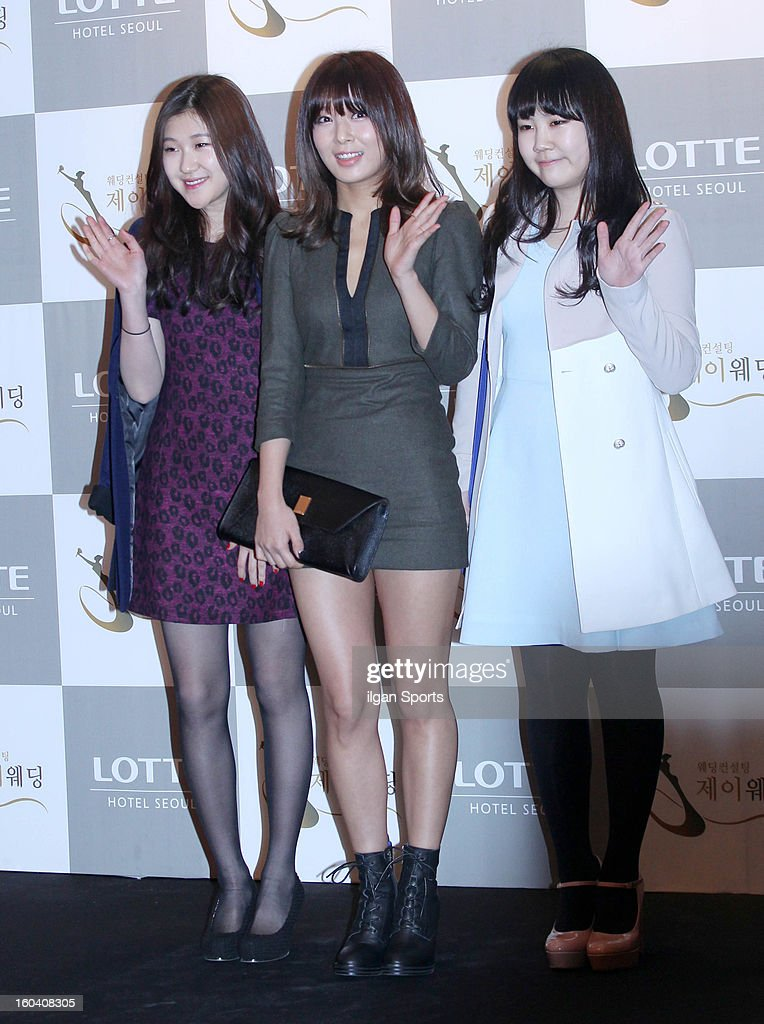 Park Ye-Lyn, Yu-Bin of Wondergirls and Park Ji-Min attend Sun's Wedding at lotte hotel on January 26, 2013 in Seoul, South Korea.
