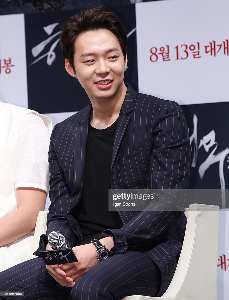 <a gi-track='captionPersonalityLinkClicked' href=/galleries/search?phrase=Park+Yoo-Chun&family=editorial&specificpeople=7444749 ng-click='$event.stopPropagation()'>Park Yoo-Chun</a> of <a gi-track='captionPersonalityLinkClicked' href=/galleries/search?phrase=JYJ&family=editorial&specificpeople=3039772 ng-click='$event.stopPropagation()'>JYJ</a> speaks during the movie 'Sea Fog' press conference at Apgujeong CGV on July 1, 2014 in Seoul, South Korea.