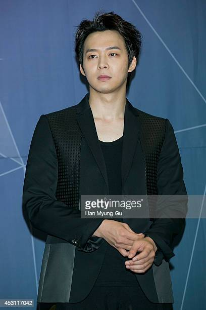 Park YooChun of South Korean boy band JYJ attends the 2014 JYJ 2nd Album 'Just Us' show case at COEX Hall on August 3 2014 in Seoul South Korea