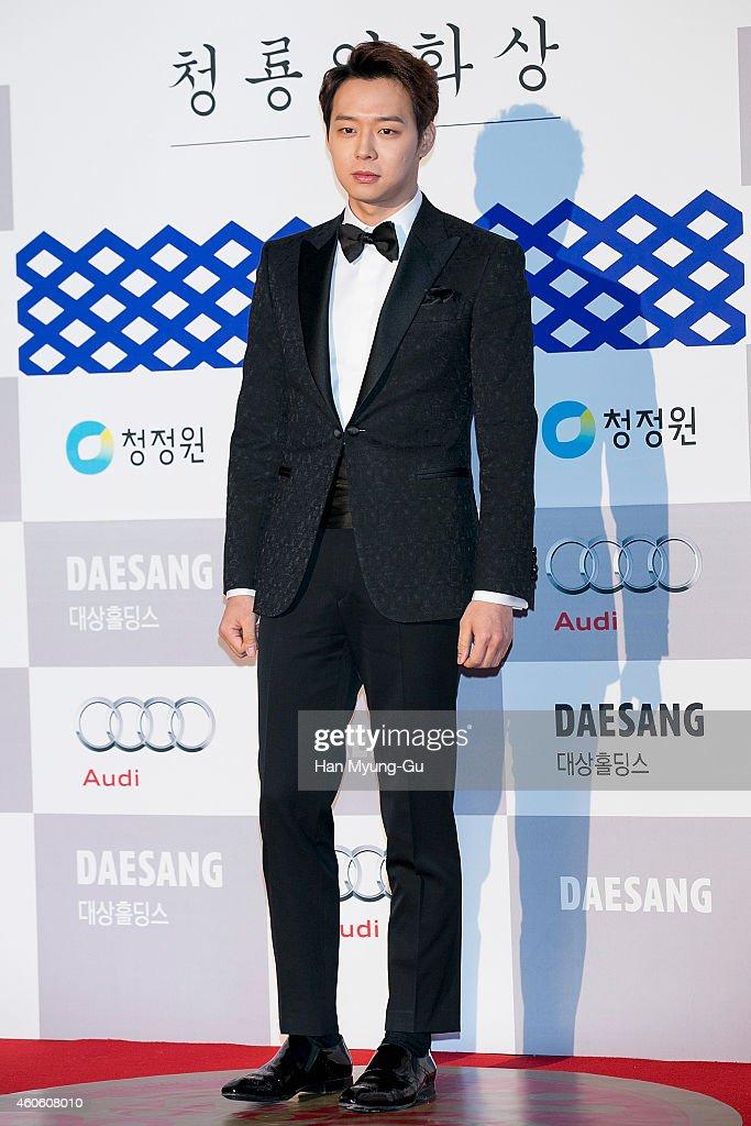 Park YooChun of South Korean boy band JYJ attends The 35th Blue Dragon Film Awards at Sejong Center on December 17 2014 in Seoul South Korea
