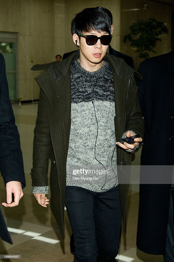 Park Yoo-Chun of South Korean boy band JYJ is seen at Gimpo International Airport on January 12, 2013 in Seoul, South Korea.