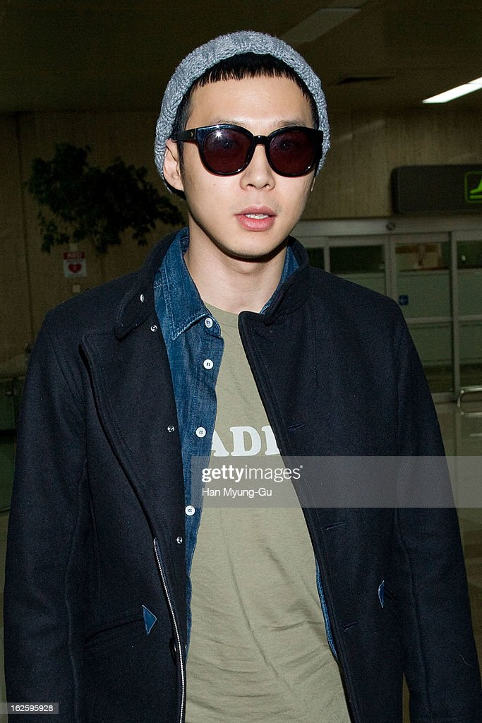 Park YooChun of South Korean boy band JYJ is seen upon arrival at Gimpo International Airport on February 25 2013 in Seoul South Korea