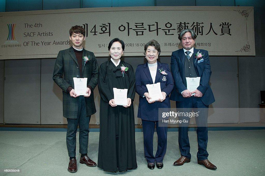 Park YooChun of South Korean boy band JYJ Park JungJa Um AingRan and Choi MinSik attend the 4th SACF Artists of the Year Awards at Seoul Press Center...