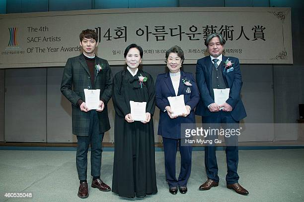 Park YooChun of South Korean boy band JYJ Park JungJa Um AingRan and Choi MinSik attend the 4th SACF Artists of the Year Awards at Seoul Press Center...