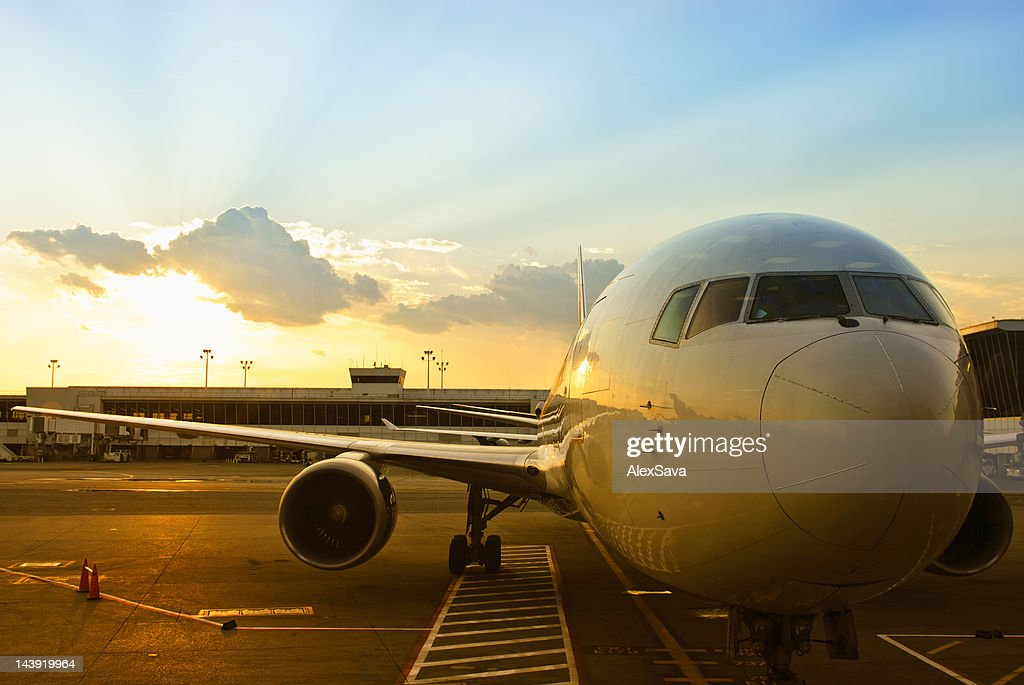 parked airplane : Stock Photo