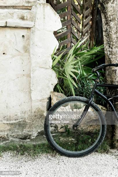 Parked bike in the street of Tulum, Mexico