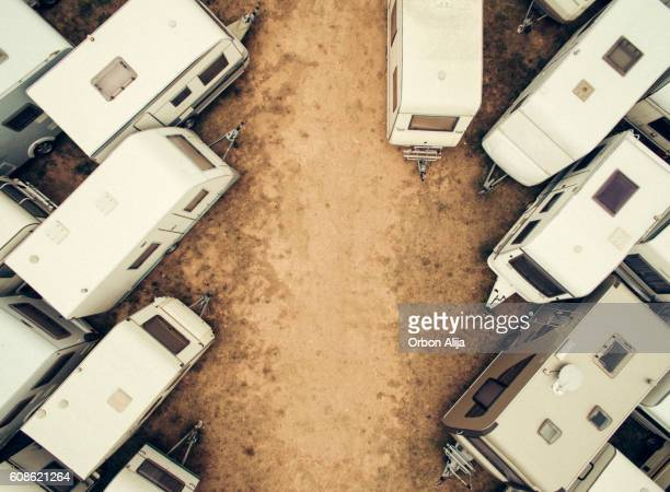 Parked caravans