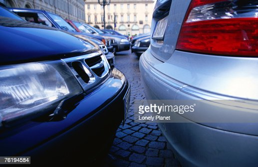 Parked cars on Piazza San Carlo, Turin, Piedmont, Italy, Europe : Stock Photo