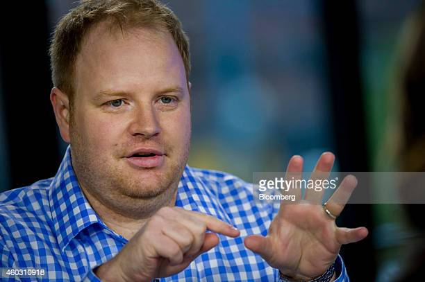Parker Conrad cofounder and chief executive officer of Zenefits speaks during a Bloomberg West television interview in San Francisco California US on...