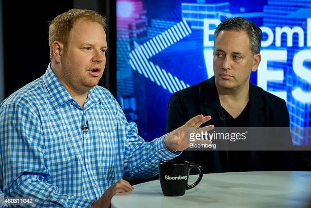Parker Conrad cofounder and chief executive officer of Zenefits left speaks as David Sacks cofounder of PayPal and chief operating officer of...