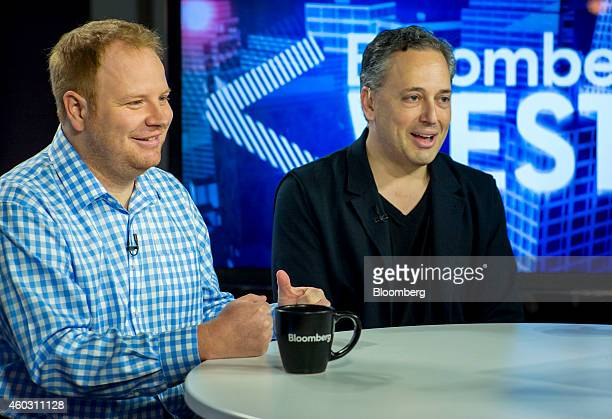Parker Conrad cofounder and chief executive officer of Zenefits left smiles as David Sacks cofounder of PayPal and chief operating officer of...