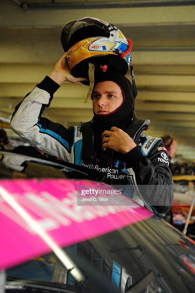<a gi-track='captionPersonalityLinkClicked' href=/galleries/search?phrase=Parker+Kligerman&family=editorial&specificpeople=6348144 ng-click='$event.stopPropagation()'>Parker Kligerman</a>, driver of the #77 TOYOTA Toyota, during practice for the NASCAR Nationwide Series Dollar General 300 at Charlotte Motor Speedway on October 10, 2013 in Concord, North Carolina.