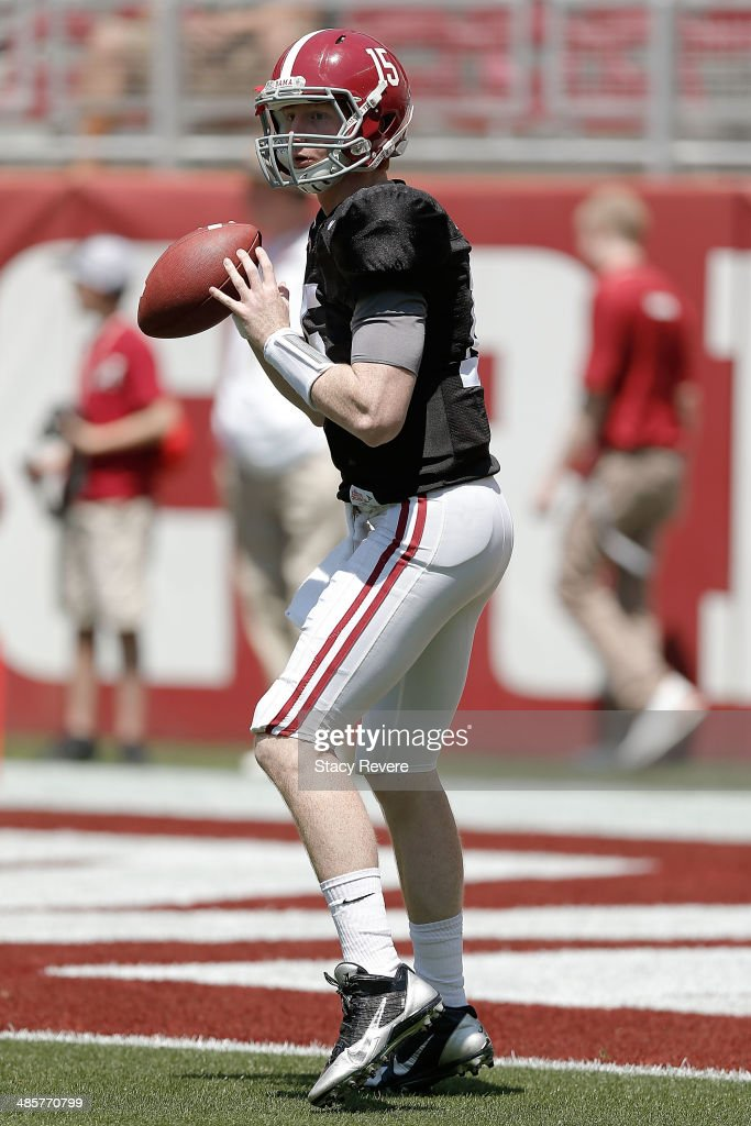 Parker McLeod #15 of the Crimson team participates in warmups prior to the University of Alabama A-Day spring game at Bryant-Denny Stadium on April 19, 2014 in Tuscaloosa, Alabama.