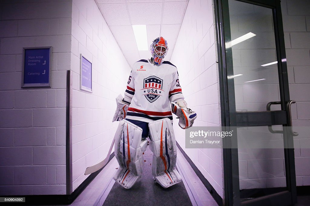 Parker Milner of USA walks out for the third period during the match between Team USA and Team Canada at Rod Laver Arena on June 17 2016 in Melbourne...