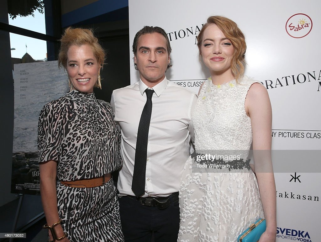 Parker Posey, Joaquin Phoenix and Emma Stone attend the Sony Pictures Classics premiere for 'Irrational Man' hosted by Svedka Vodka, Hakkasan and Sabra at The WGA Theater on July 9, 2015 in Beverly Hills, California.