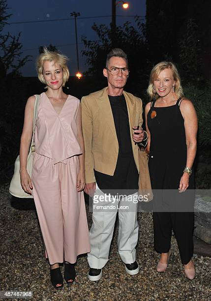 Parker Posey Todd Thomas and Cindy Sherman attend the cocktail reception before the Rachel Comey fashion show at the Pioneer Works Center for Arts...