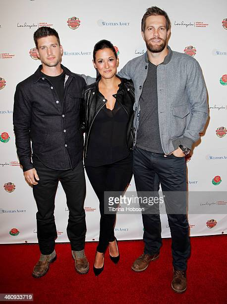 Parker Young Angelique Cabral and Geoff Stults attend the 2014 Tournament of Roses and the Los Angeles Sports Entertainment Commission's national...