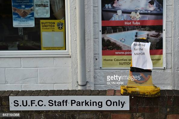 Parking arrangements are pictured ahead of the English FA Cup fifth round football match between Sutton United and Arsenal at the Borough Sports...