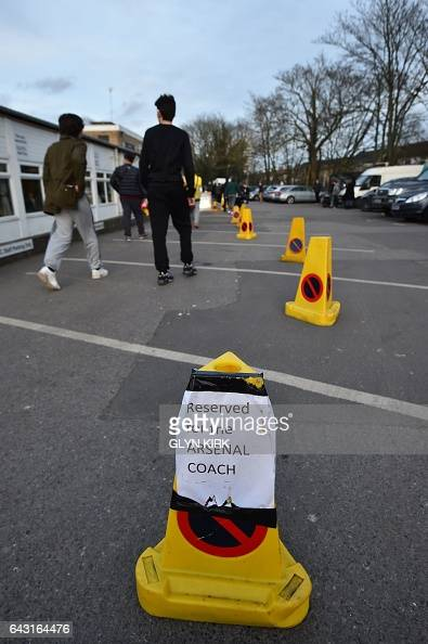 Parking arrangements for the Arsenal coach are pictured ahead of the English FA Cup fifth round football match between Sutton United and Arsenal at...