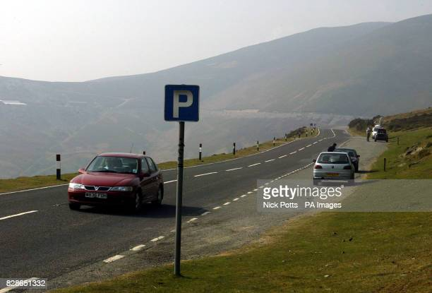 Parking layby on Horseshoe Pass near Llangollen the beauty spot where a father killed himself and his four young children in North Wales Their bodies...