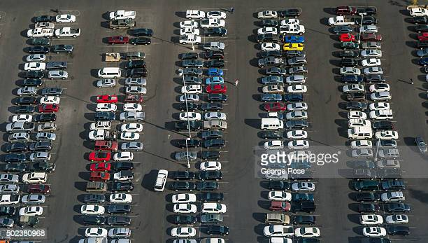 A parking lot below the High Roller the world's tallest Ferris wheel is viewed on December 7 2015 in Las Vegas Nevada Tourism in America's 'Sin City'...