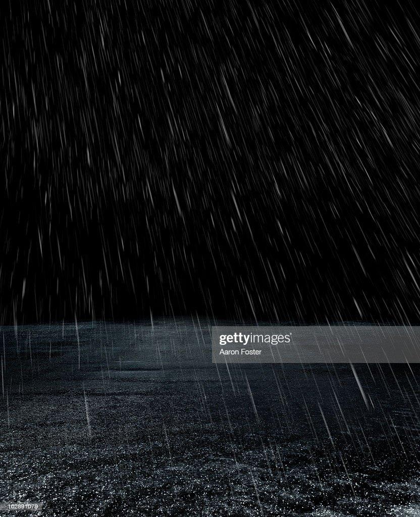 Parking lot in rain