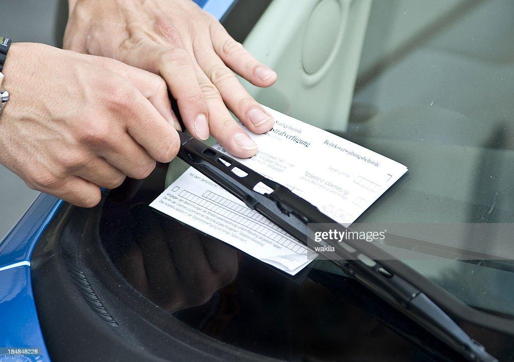 parking  prohibition - violation ticket : Stock Photo