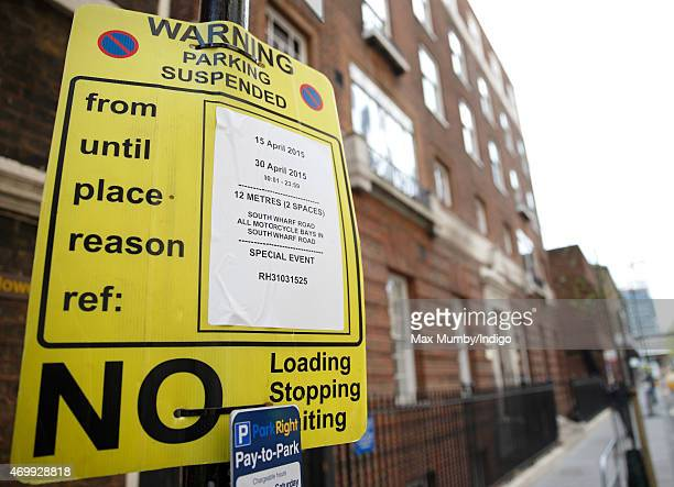 A parking restriction sign seen outside the Lindo Wing of St Mary's Hospital in preparation for the birth of the second child of Prince William Duke...