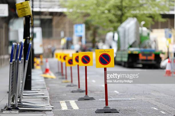 Parking restriction signs seen outside the Lindo Wing of St Mary's Hospital in preparation for the birth of the second child of Prince William Duke...