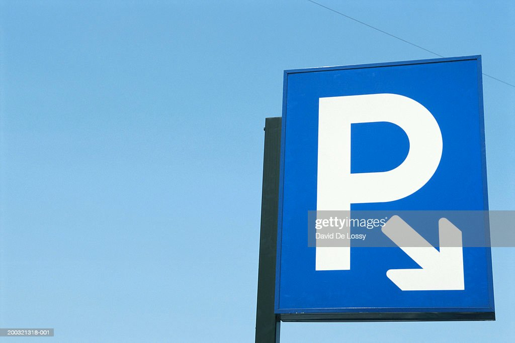 Parking sign, close-up, low angle view : Stock Photo
