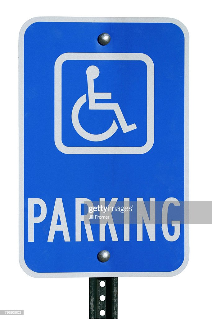 A parking sign for the physically disabled on a white background.