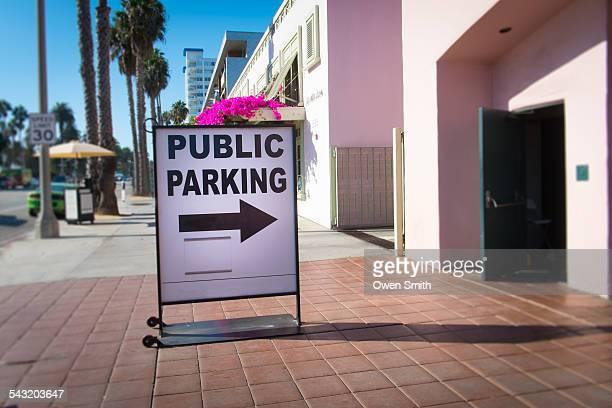 Parking sign on street sidewalk, Santa Monica, California, USA