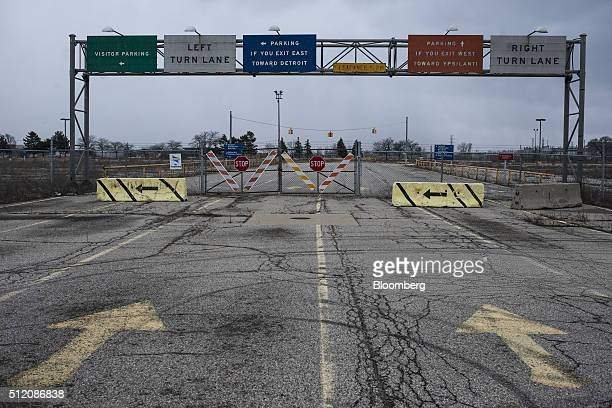 Parking signs are seen at the former site of the General Motors Co powertrain plant inside the Willow Run airport in Ypsilanti Michigan US on...