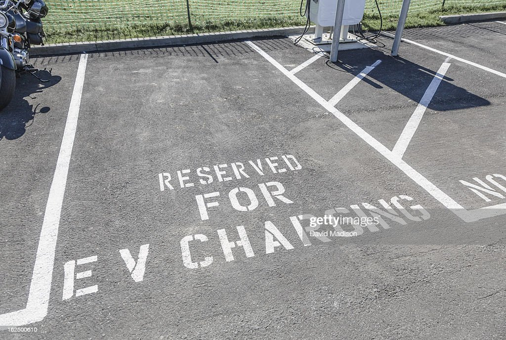 Parking space for charging electric vehicles.
