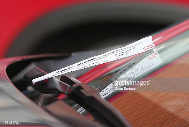 A parking ticket sits on the windscreen of the car driven by Essendon Bombers AFL coach James Hird as he arrives at Windy Hill on August 13 2013 in...