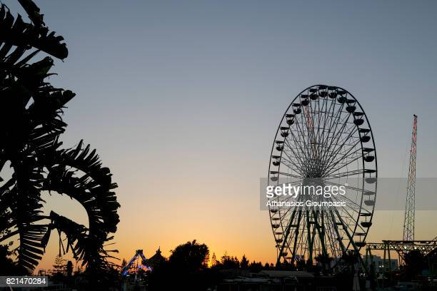 Parko Paliatso Luna park at the sunset on July 11 2017 in Ayia Napa Cyprus The family owned park opened in 1999 and contains more than 25 attractions