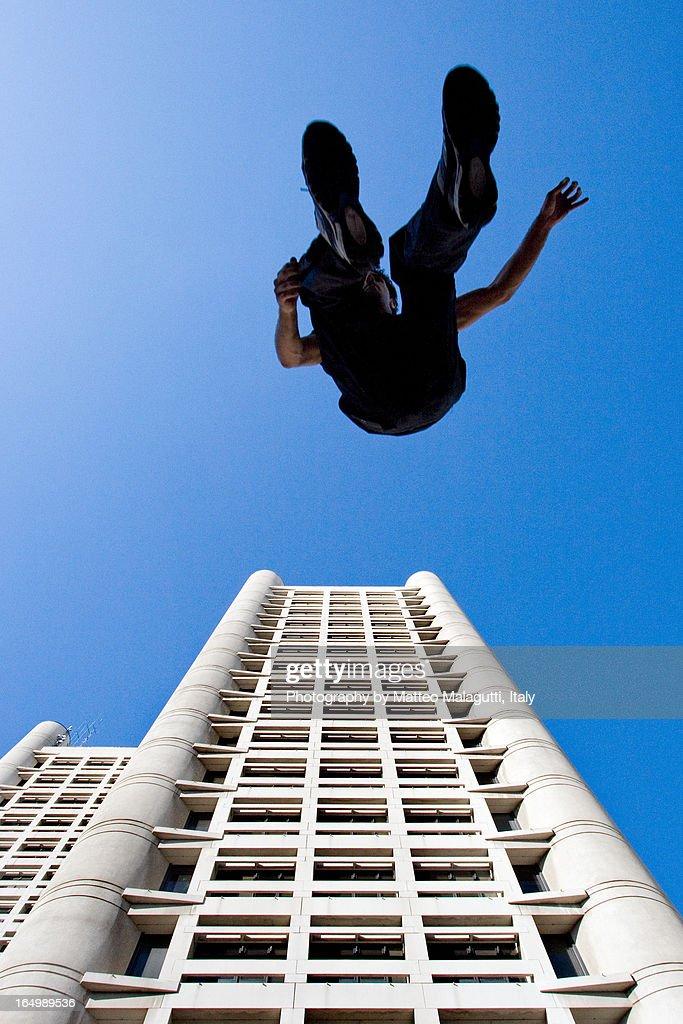 parkour building jump : Stock Photo