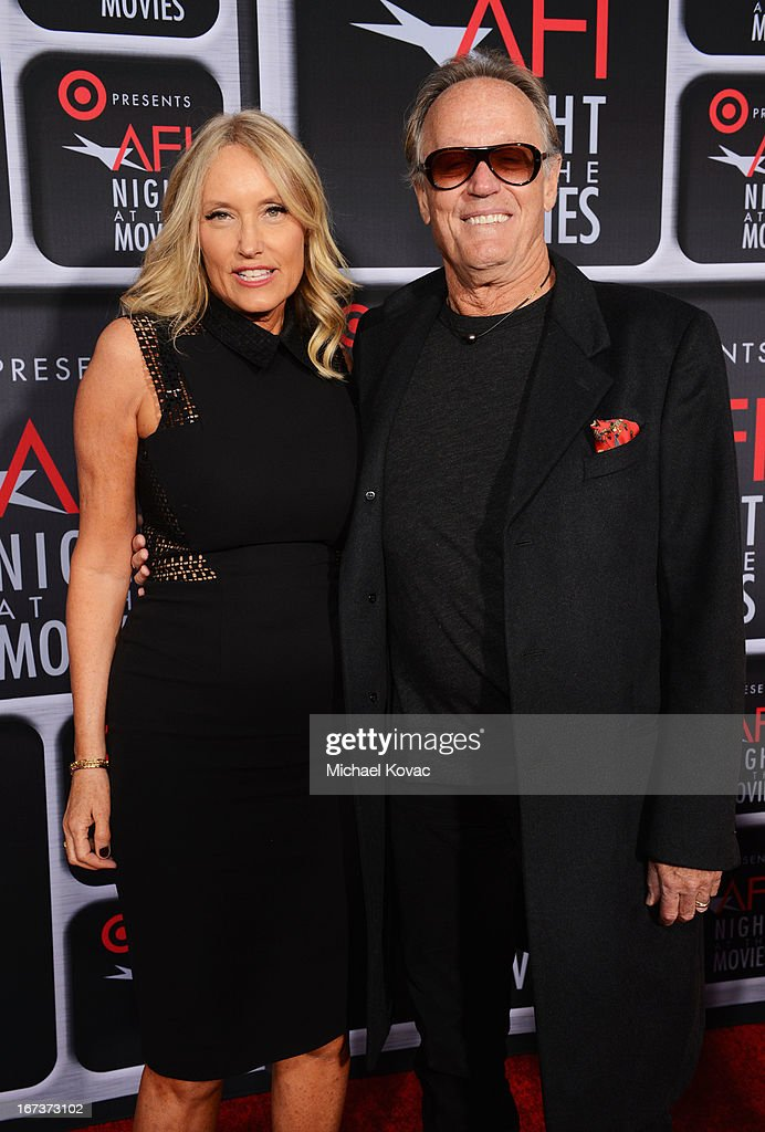 Parky Fonda and actor Peter Fonda arrive on the red carpet for Target Presents AFI's Night at the Movies at ArcLight Cinemas on April 24, 2013 in Hollywood, California.