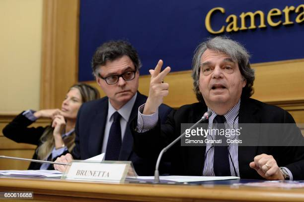 Parlamentarians of Forza Italia Gregorio Fontana and Renato Brunetta during the presentation of the proposal on Security on March 09 2017 in Rome...