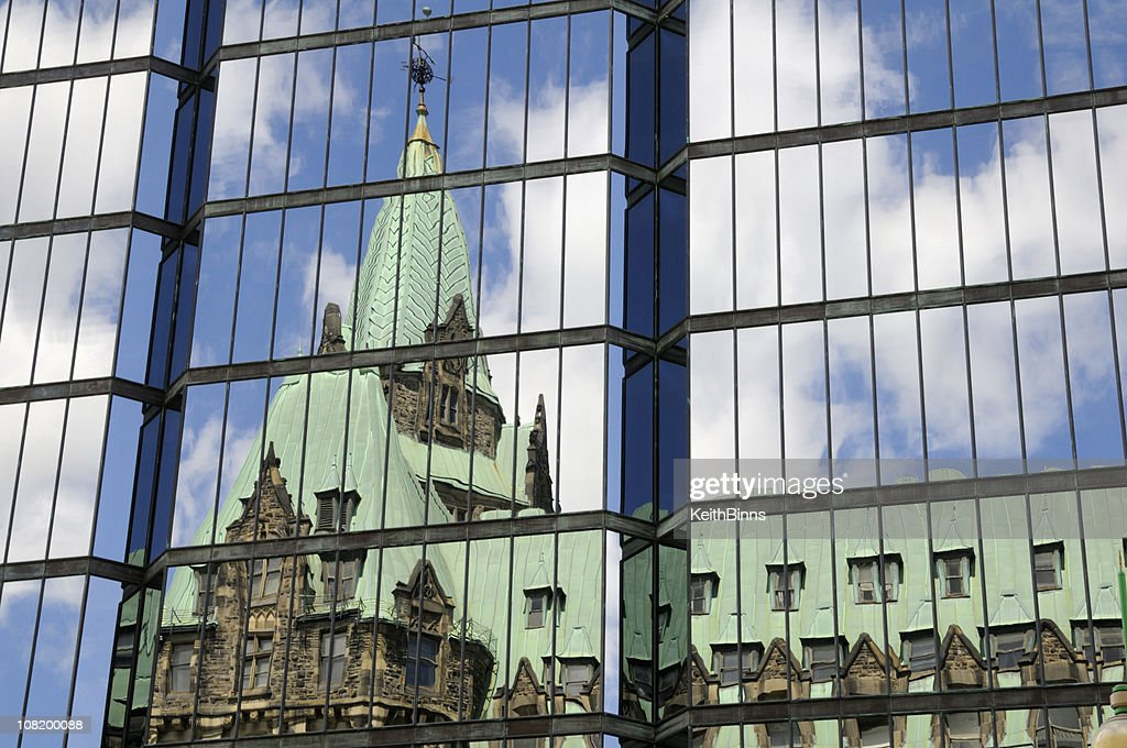 Parliament Building Reflection on Glass : Stock Photo