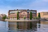 view of Parliament building, Stockholm, Sweden, selective focus